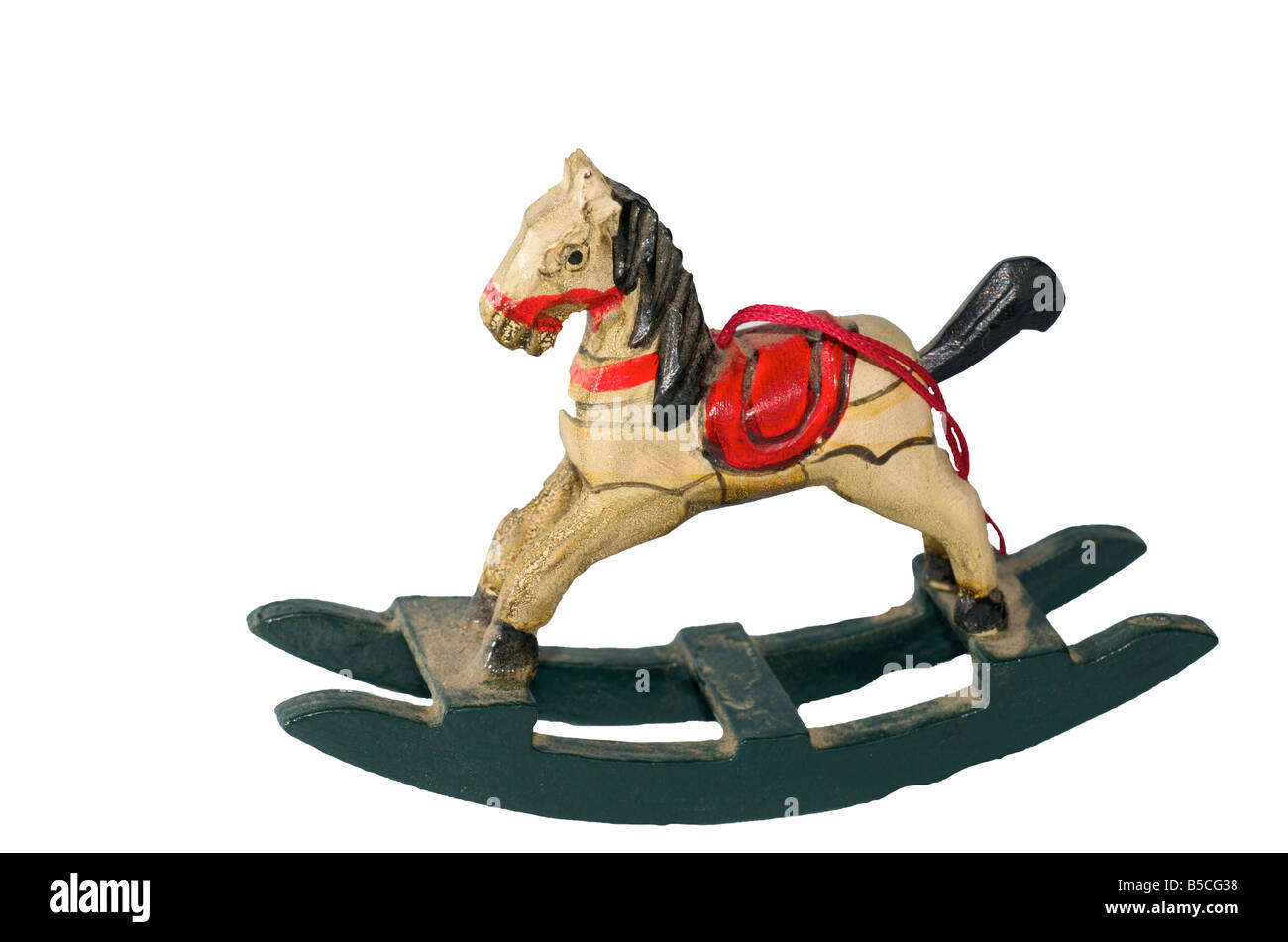 A Small Wooden Rocking Horse Is A Christmas Ornament Stock Photo Alamy