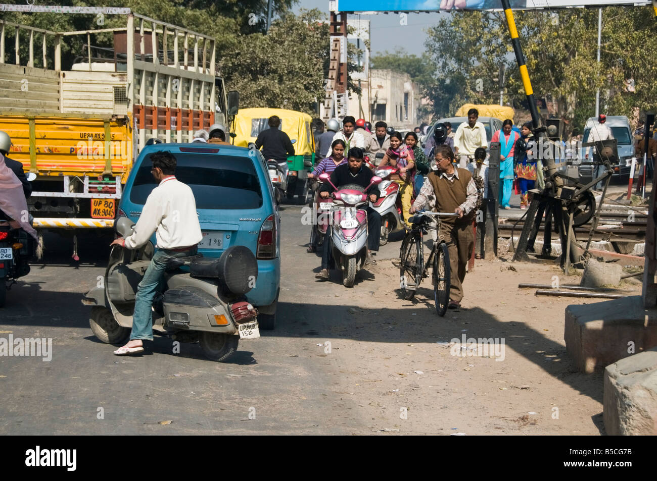 Typical traffic chaos in India - Stock Image