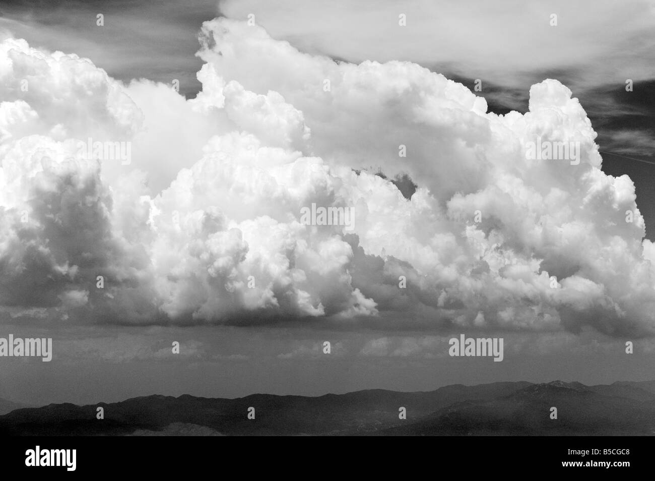 aerial view above cumulus and cumulonimbus clouds western Texas Stock Photo