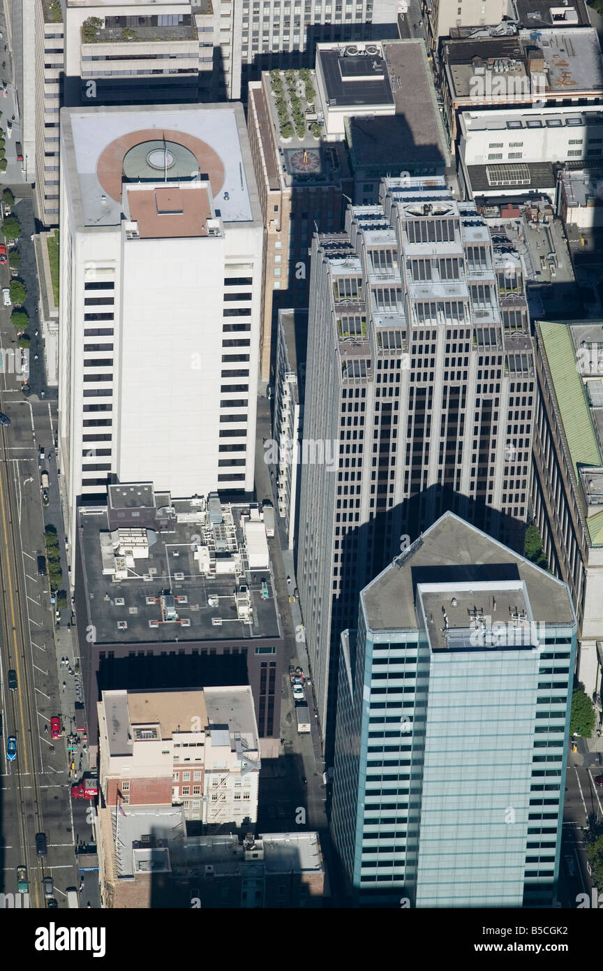 aerial view above 333 Bush Street San Francisco California and adjacent office towers - Stock Image