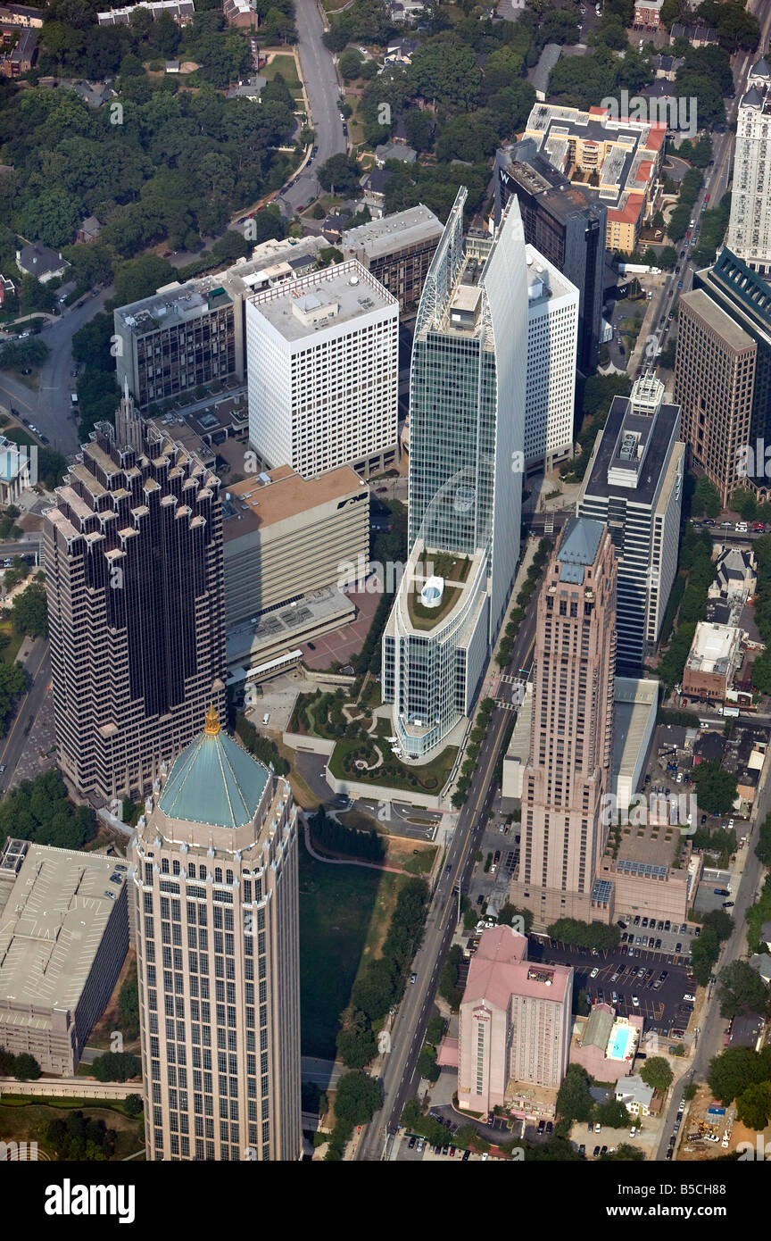 aerial view above 1180 Peachtree Street and other Midtown Atlanta Georgia office buildings housing law offices King - Stock Image