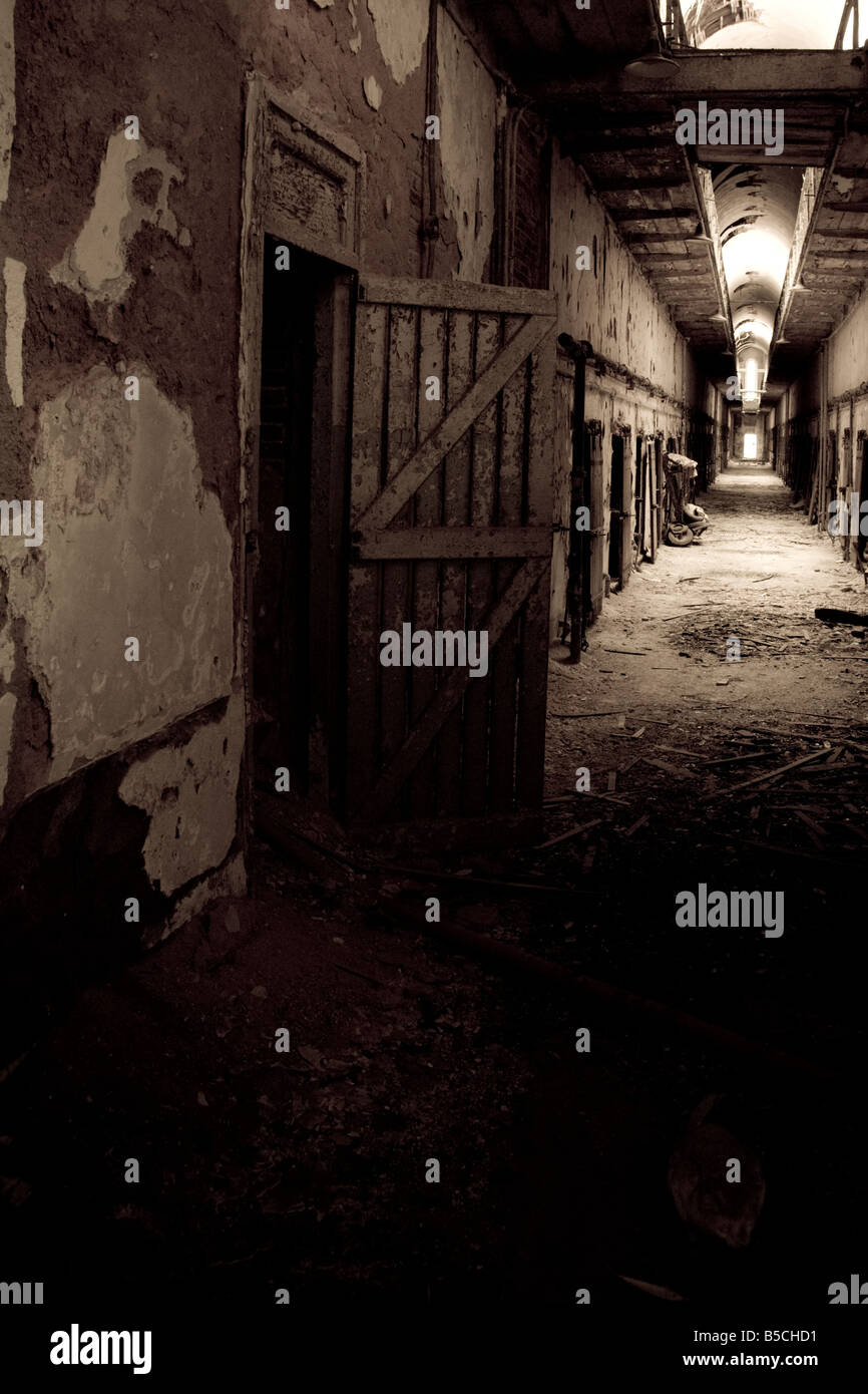 Cellblock in the Eastern State Penitentiary - Stock Image