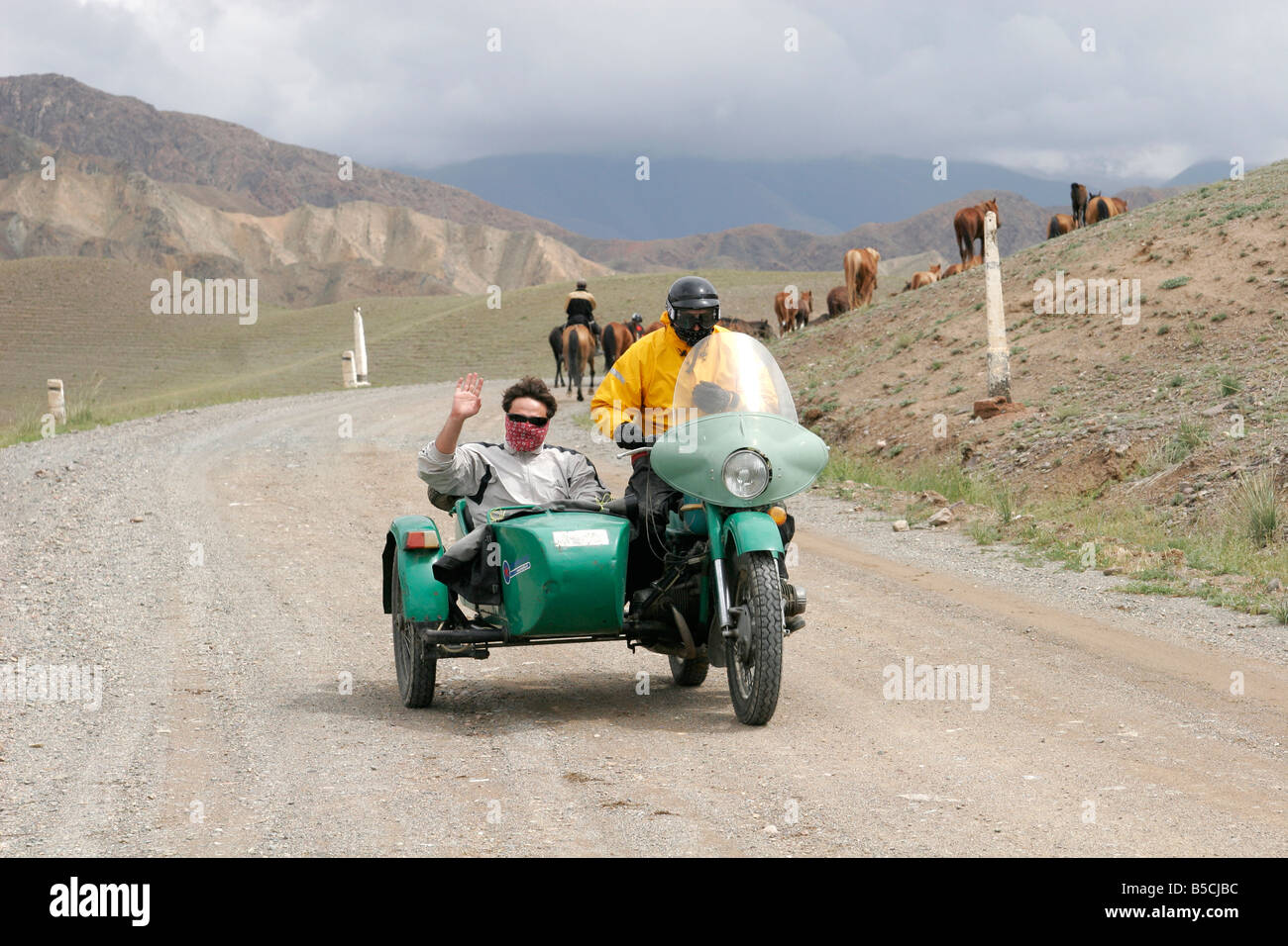 Sidecar Outfit Stock Photos Images Alamy Tt2011 Sidecars Tourists Traveling On Motorcycle With Kyrgyzstan Central Asia Image