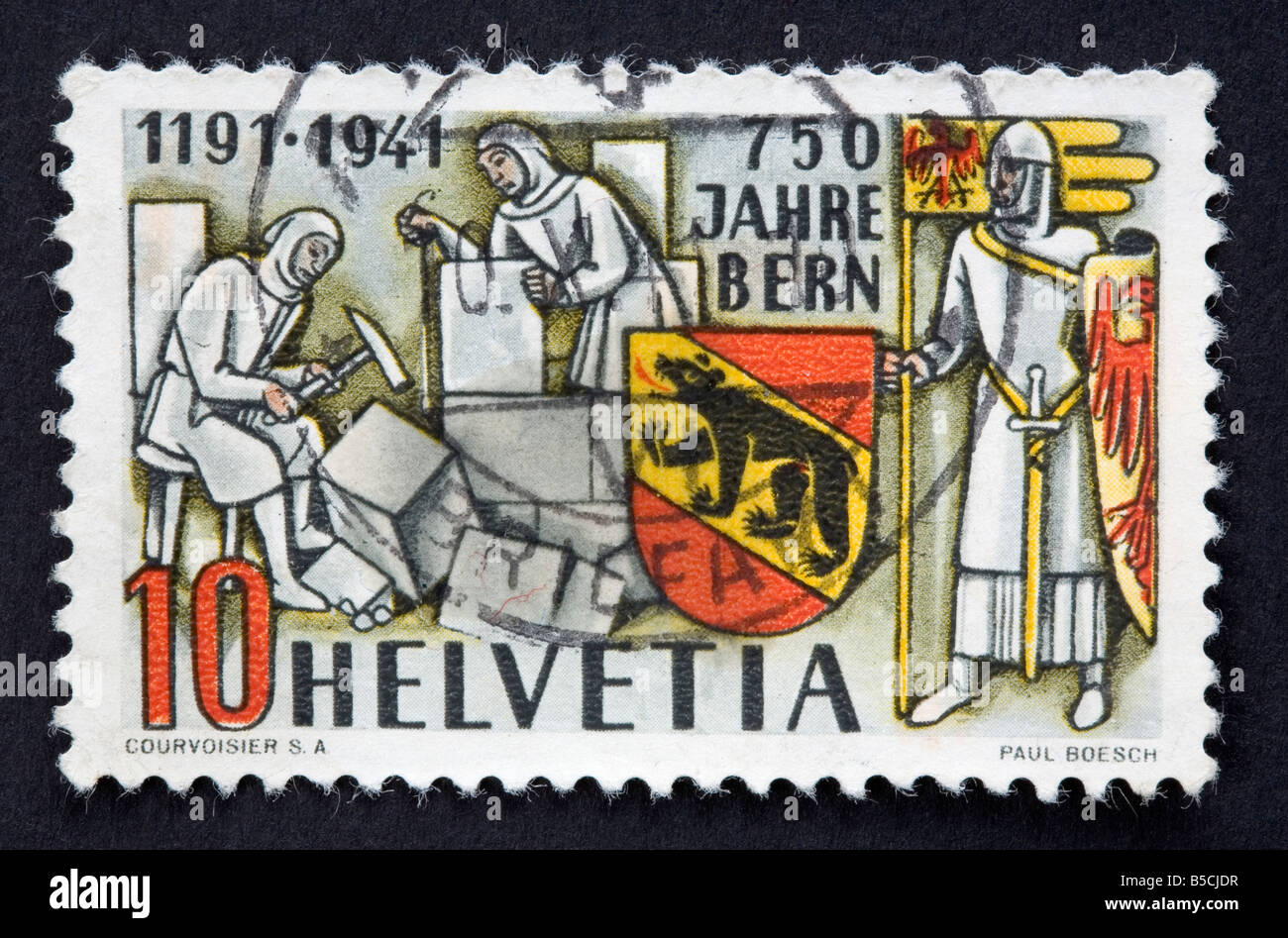 Swiss postage stamp - Stock Image