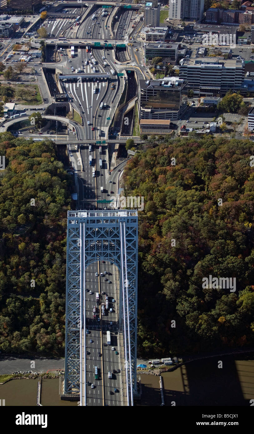 aerial view above George Washington bridge toll plazas on New Jersey side - Stock Image