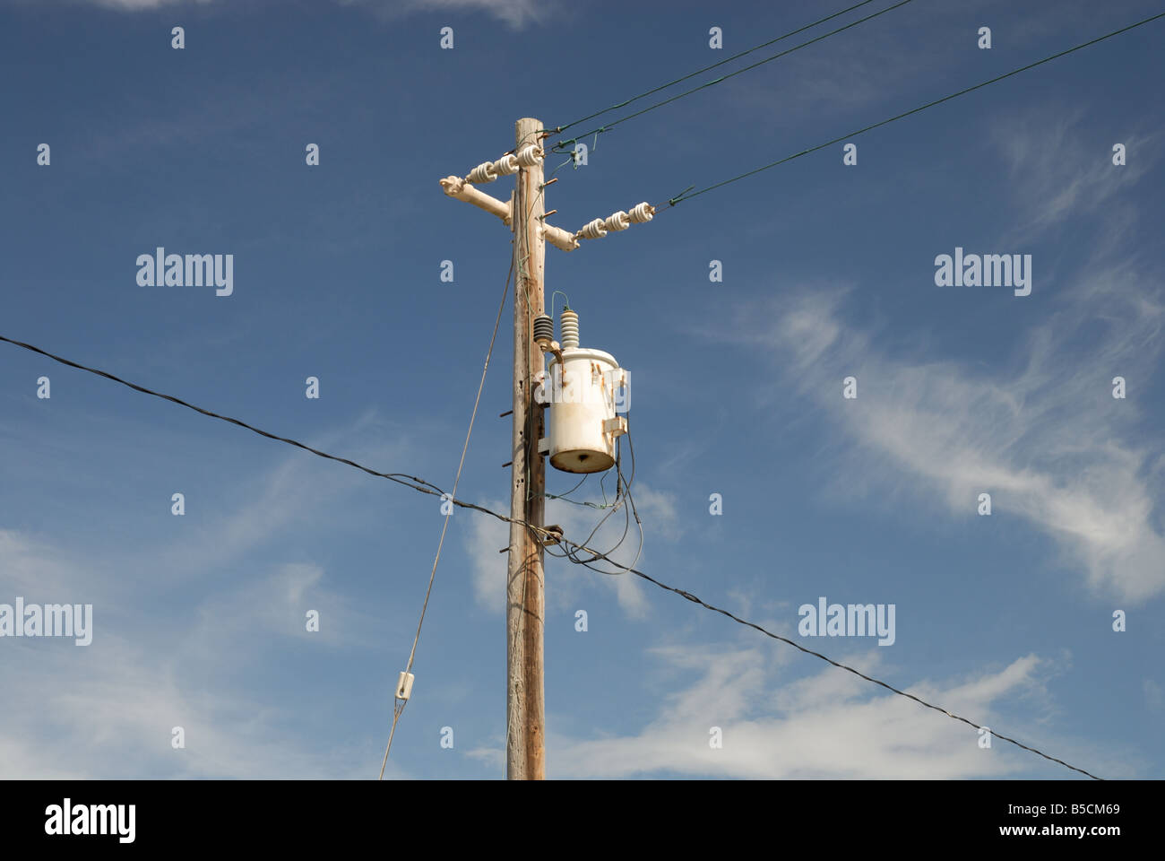 Transformer Electric Stock Photos Free Photography Meter Messy Electrical Installation On Wooden Pole With Wiring And Insolators Image
