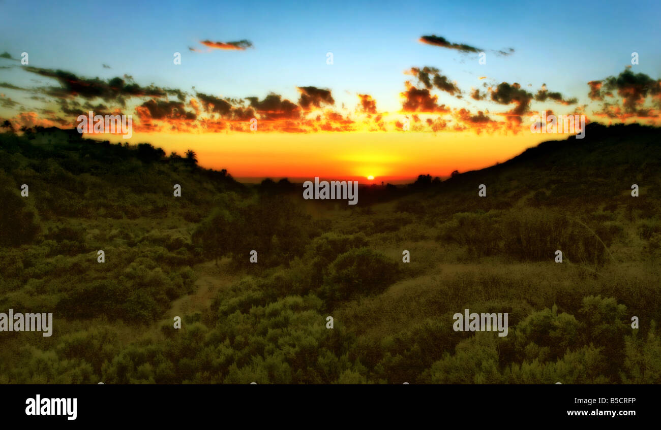 USA Sunset captured in the foothills of Vista California - Stock Image