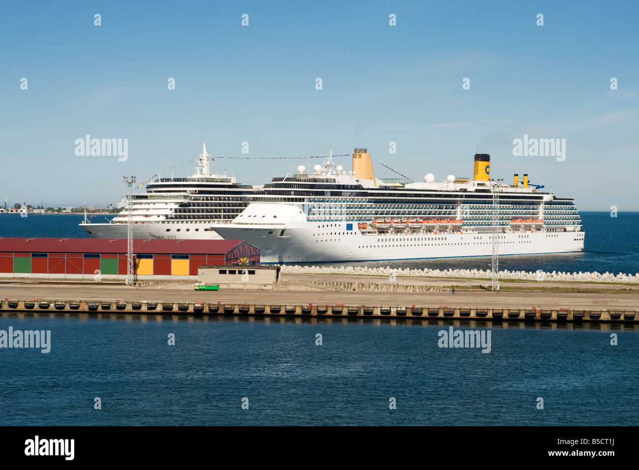 Cruise ships Arcadia and Costa Atlantica berthed at the harbour in Tallinn, Estonia - Stock Image