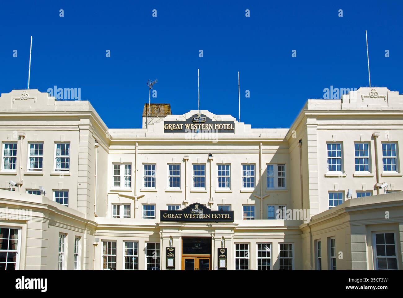 the front entrance to the great western hotel in newquay,cornwall,uk - Stock Image
