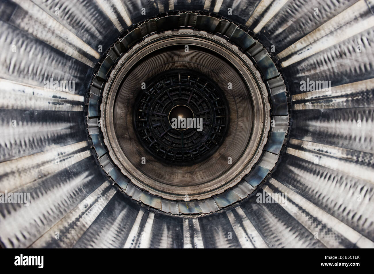 Close up of a F16 jet engine seen from the rear end - Stock Image