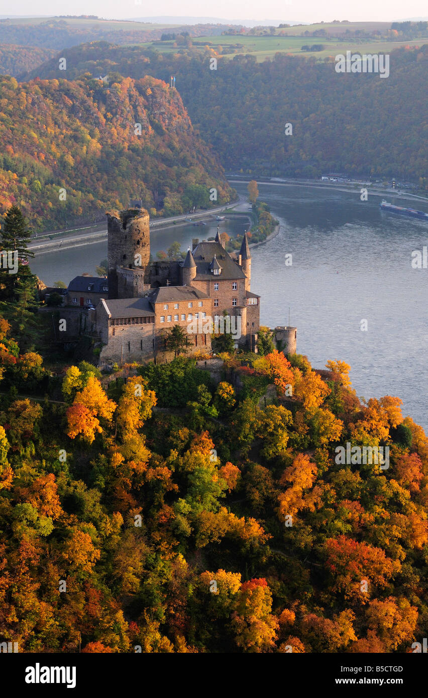 Rhine valley castle Katz in autumn, Germany - Stock Image