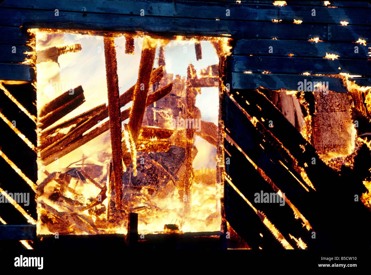 Inferno, engulfed interior. - Stock Image