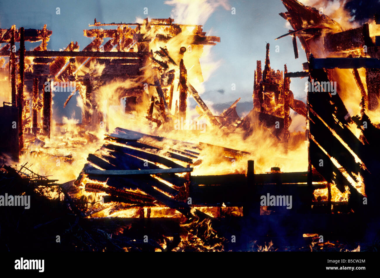 Inferno, flames totally consuming family home. - Stock Image