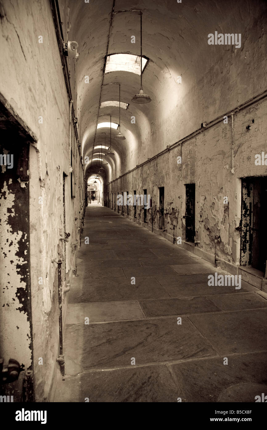 Cellblock 2 in the Eastern State Penitentiary - Stock Image