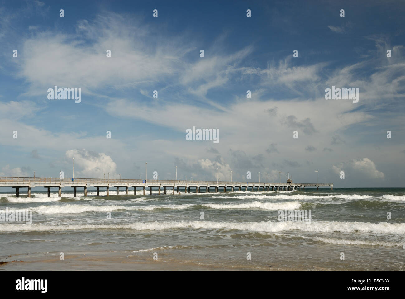 Bob Hall pier on Padre Island, Southern Texas USA Stock Photo