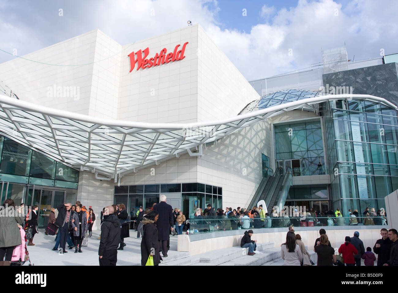 Exterior of Westfield Shopping complex at Shepherds Bush London - Stock Image