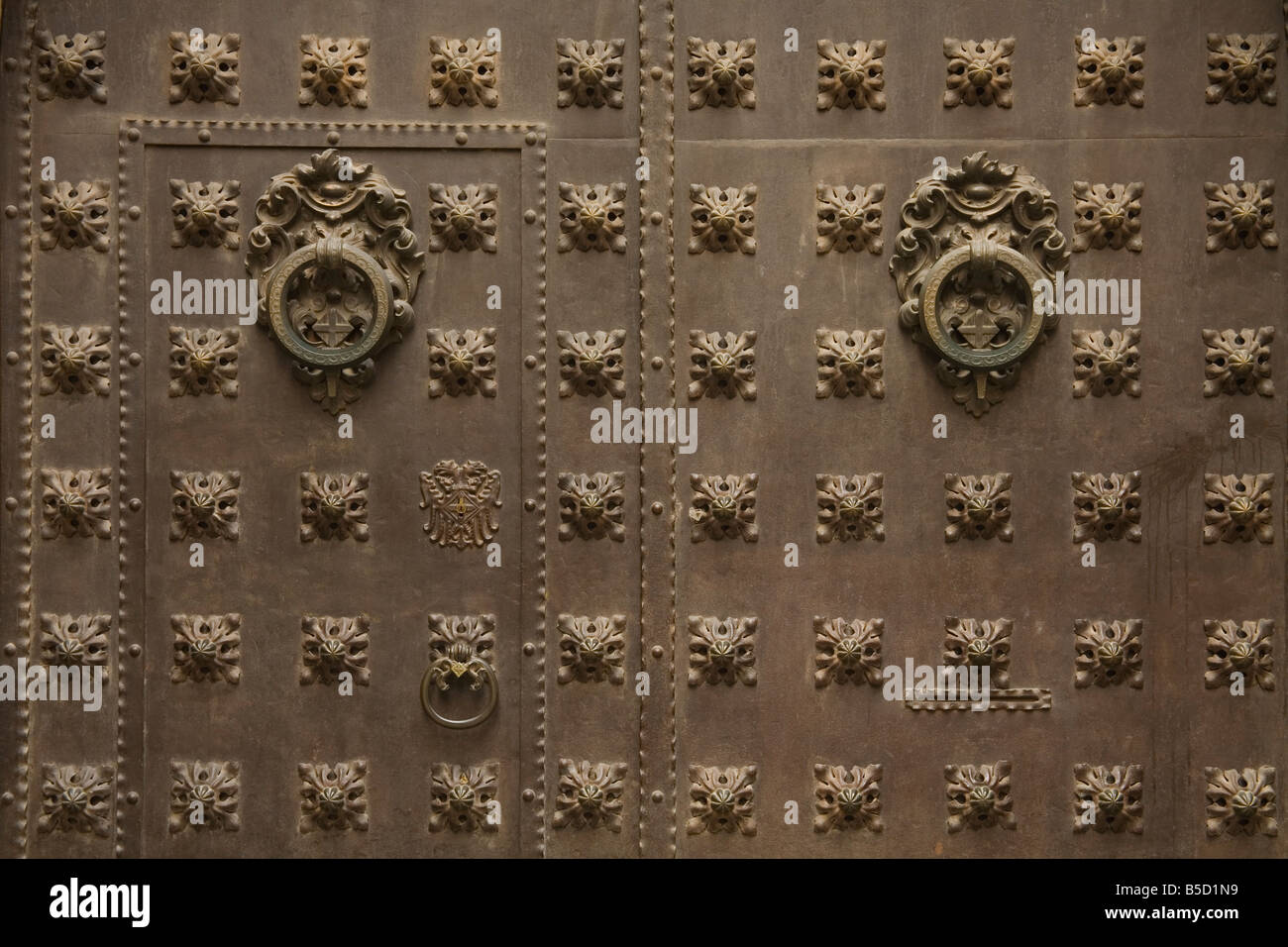 Door detail, Esglesa de Sant Sever Church, Gothic Quarter, Barcelona, Catalonia, Spain, Europe - Stock Image