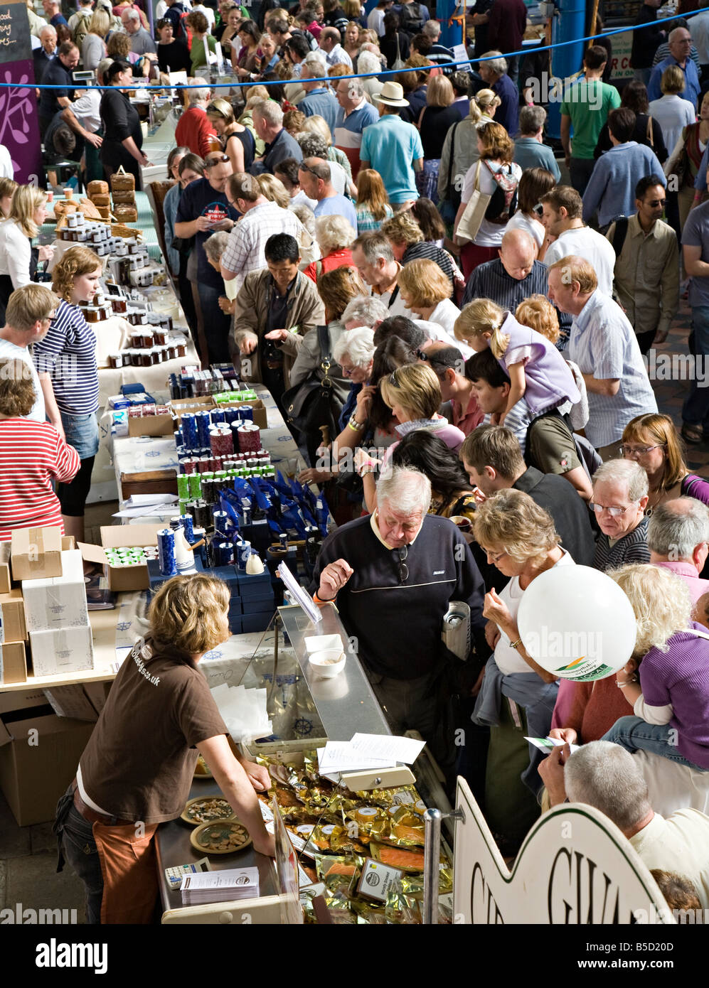Crowds of people at Abergavenny Food Festival Wales UK - Stock Image