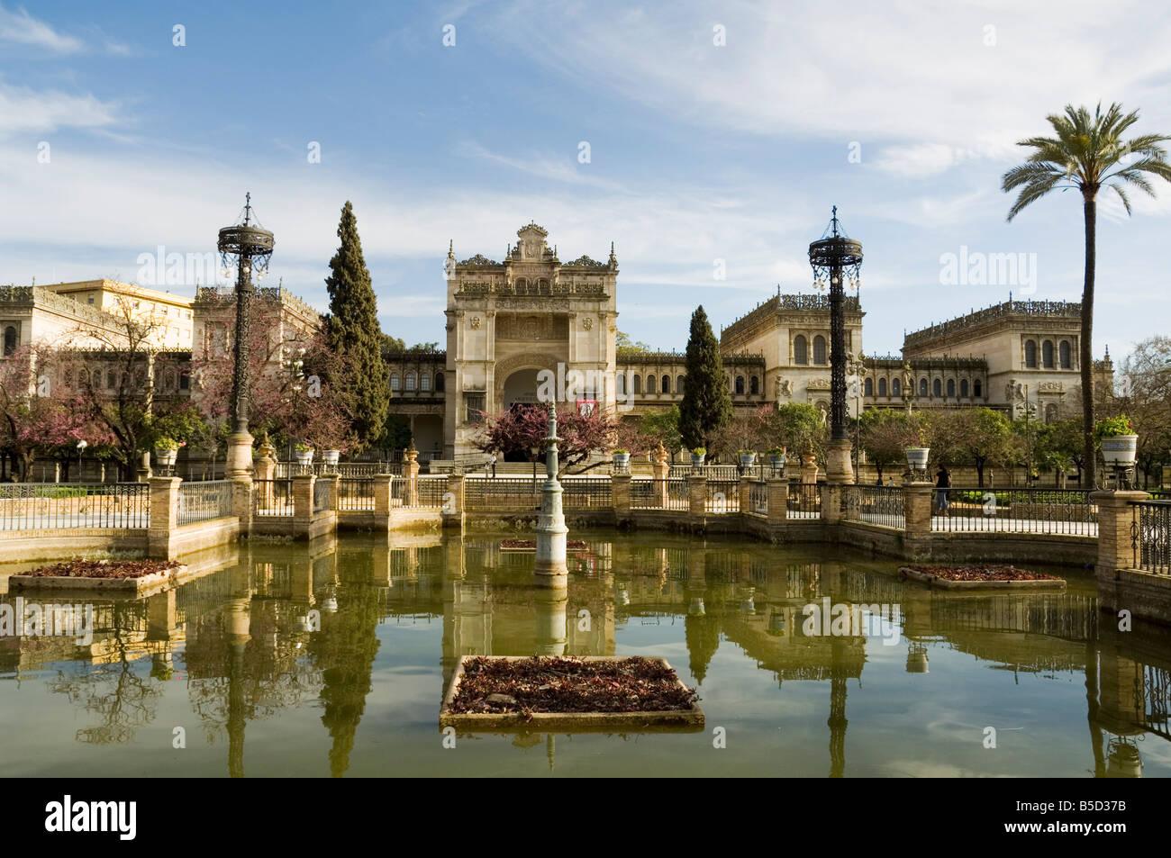 Neo Renaissance Pavellon de las Bellas Artes now the Museum of Archaeology, Parque Maria Luisa, Seville, Andalusia, - Stock Image