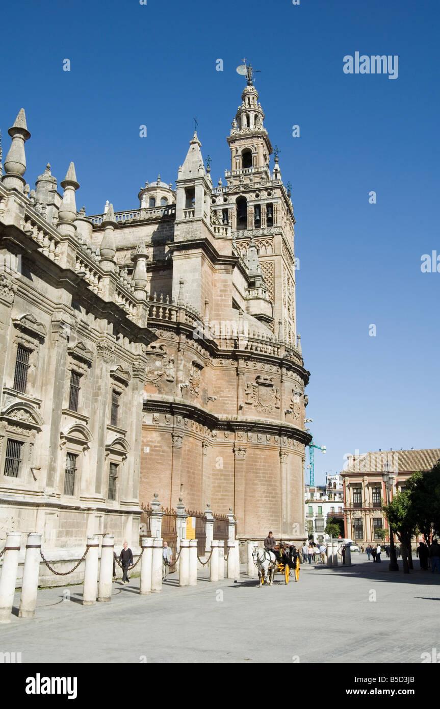 Seville Catheral and La Giralda, Plaza Virgen de los Reyes, Santa Cruz district, Seville, Andalusia, Spain - Stock Image