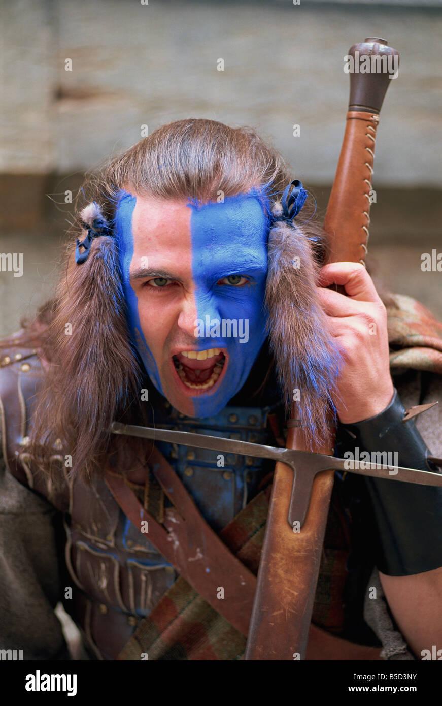 quot Braveheart quot Painted Highlander Edinburgh Scotland N Clark - Stock Image