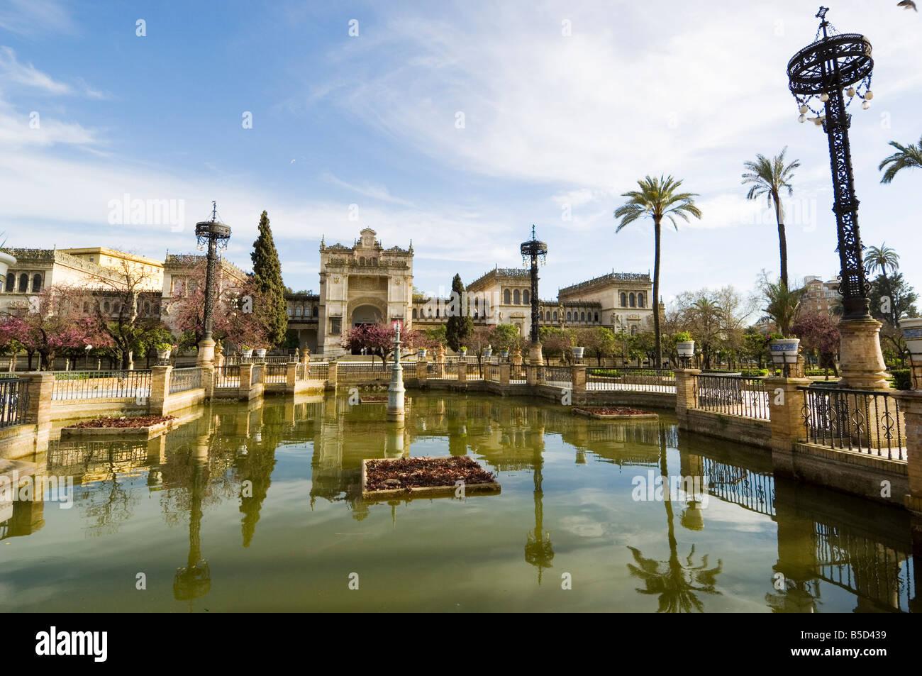 Neo Renaissance Pavellon, The Museum of Archaeology, Plaza de America, Parque Maria Luisa, Seville, Andalusia, Spain - Stock Image
