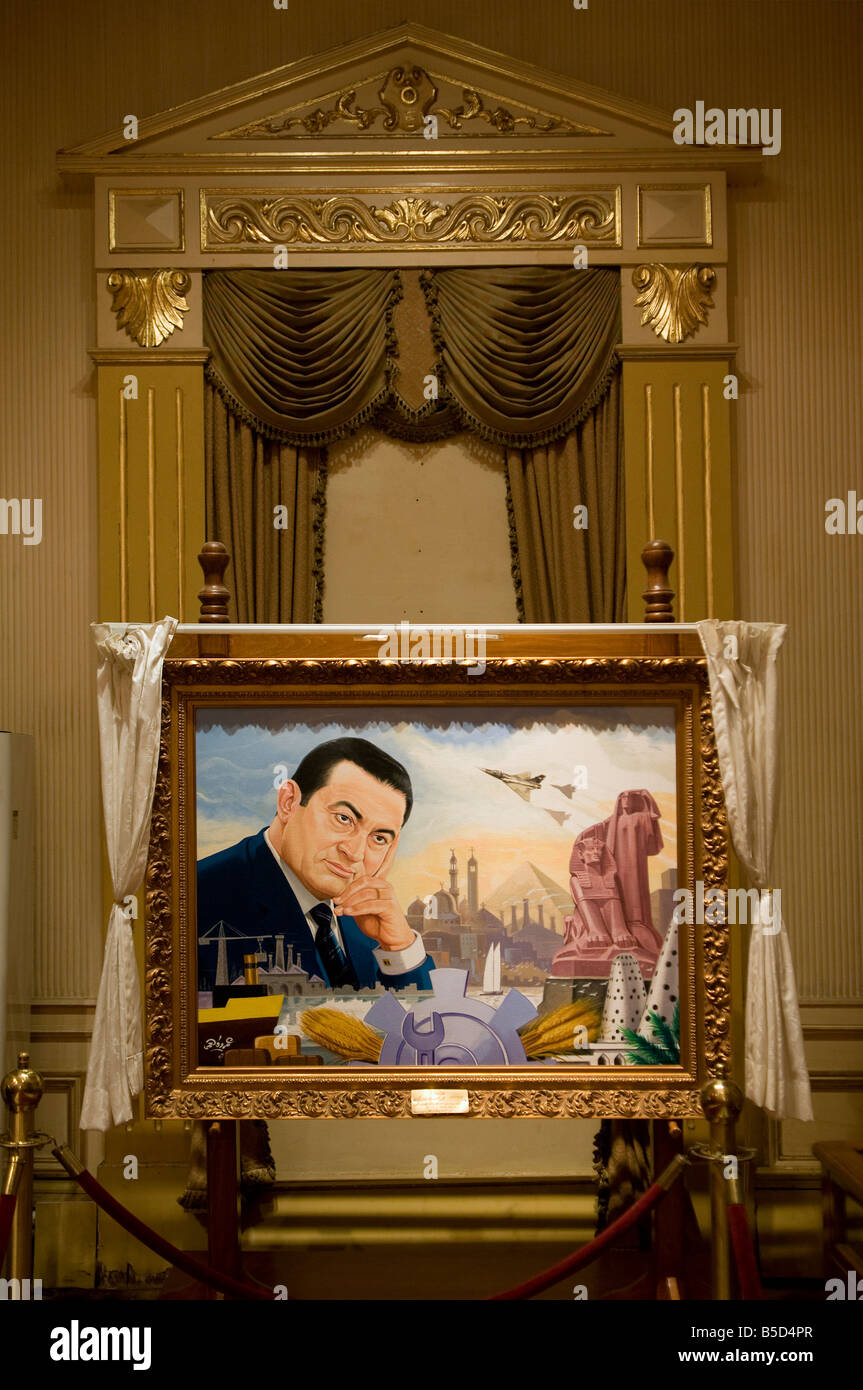 Portrait of Egyptian President Husni Mubarak displayed at the gift room in Abdeen Palace Museum, Cairo Egypt - Stock Image