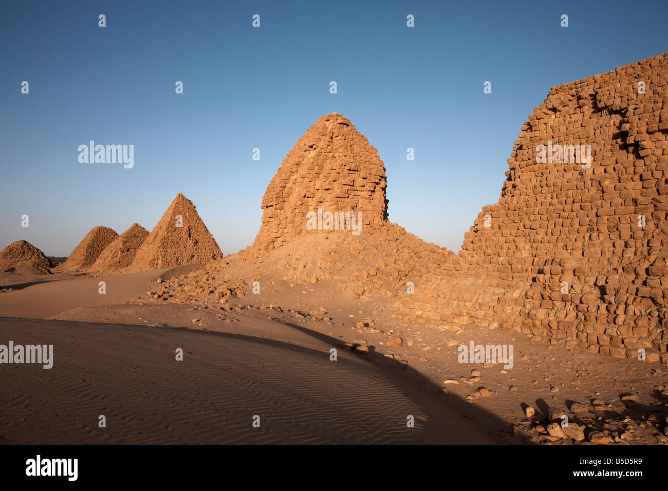 The royal cemetery of Nuri, burial place of King Taharqa, ancient ruler of the Kingdom of Kush, Karima, Sudan, Africa Stock Photo