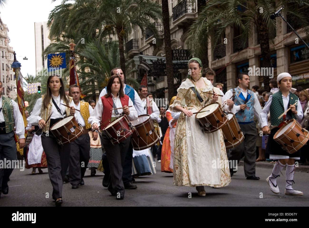 Drummers in Spanish civic parade Valencia celebrates its fiesta Nou D Octubre 9th October Valencia Spain - Stock Image