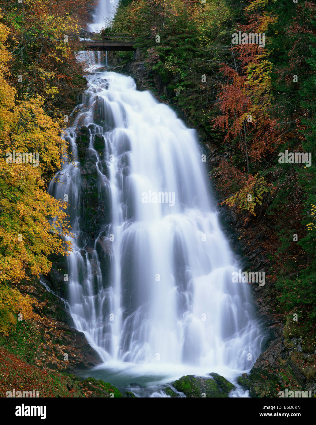 The Giessbach waterfall in autumn in the Bernese Oberland Switzerland Europe Stock Photo