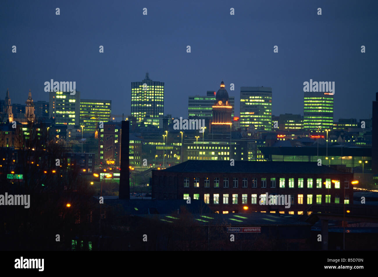 City skyline from the Armley area, Leeds, Yorkshire, , Europe - Stock Image