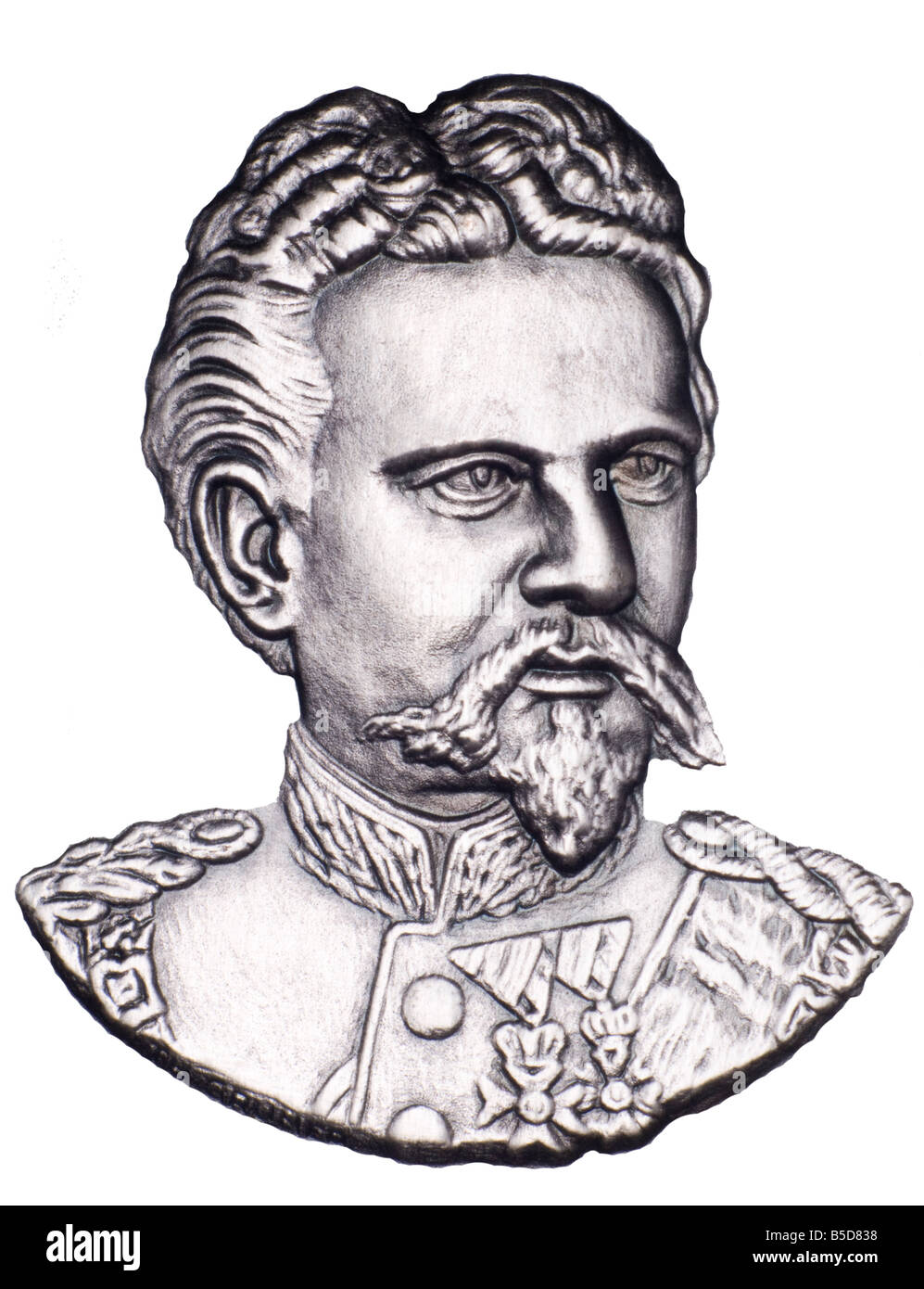 Portrait of King Ludwig II of Bavaria from commemorative Medallion - Stock Image