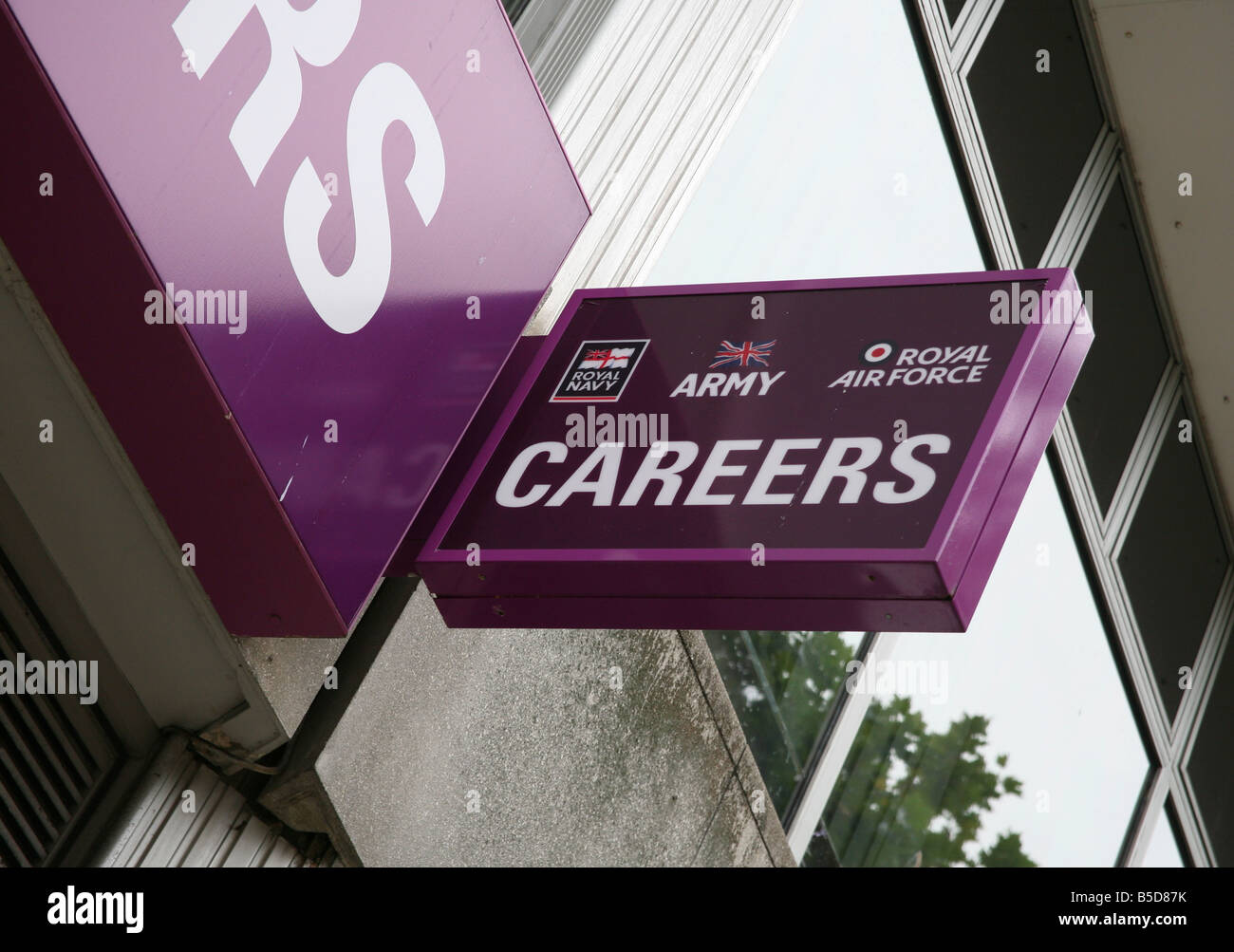 Armed forces careers office sign in Peterborough - Stock Image