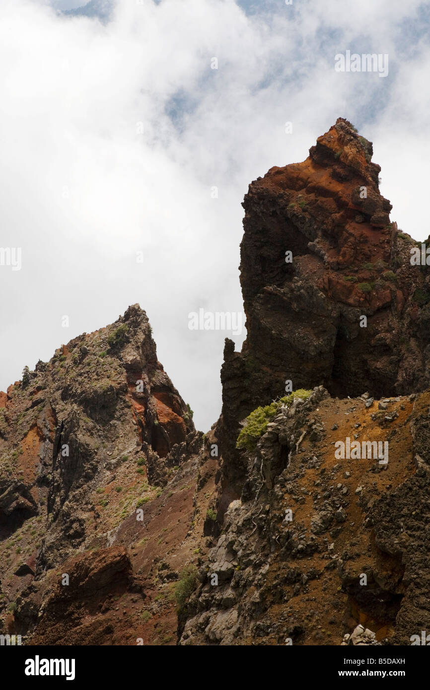 Rock formation atop the Roque de los Muchachos at the highest point of the island of La Palma on the Canary Islands. - Stock Image