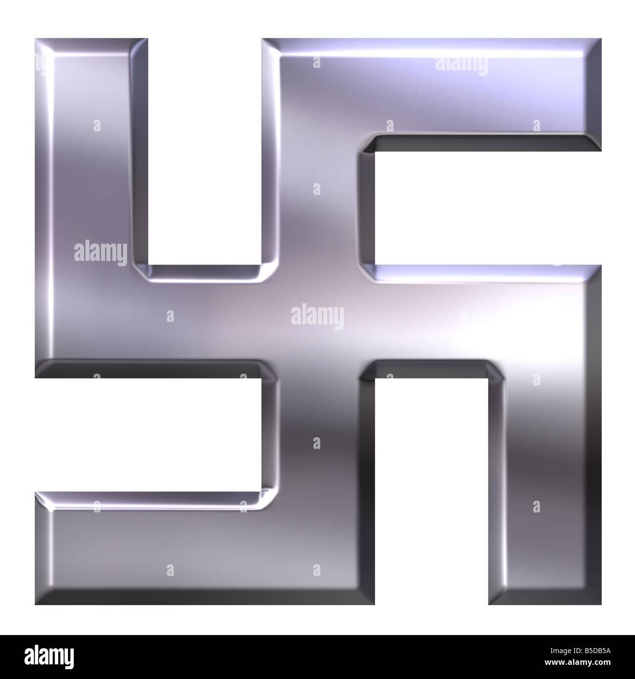 3d silver swastika - Stock Image