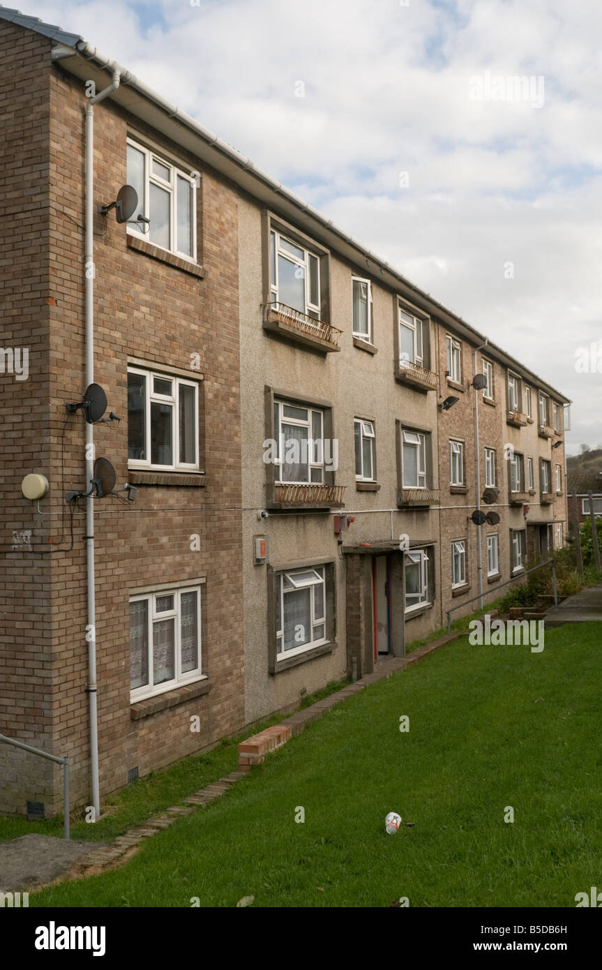 Block of local authority council social housing rented flats Penparcau housing estate Aberystwyth Wales UK Stock Photo
