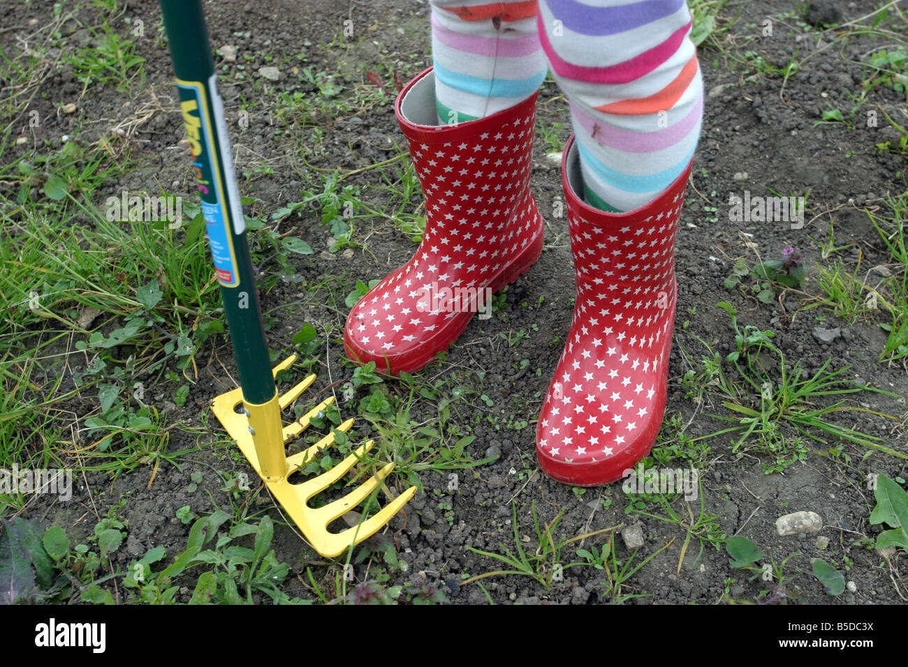 Young Girl wearing red Welly Boots on an allotment Stock Photo ... bdc7d31fbe4d