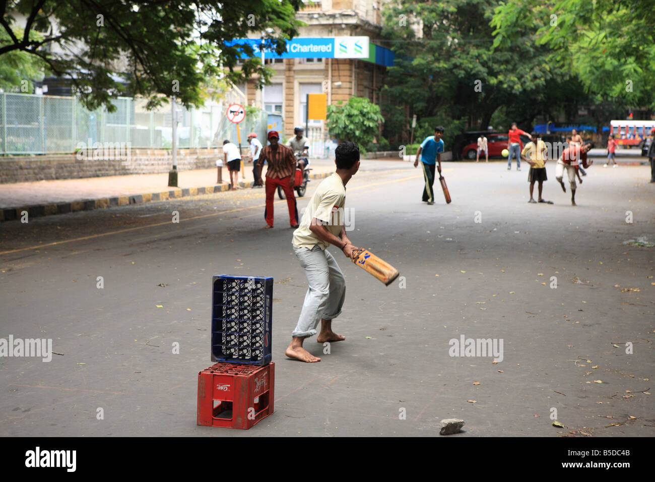 Boys Playing Street Cricket Mumbai India Stock Image