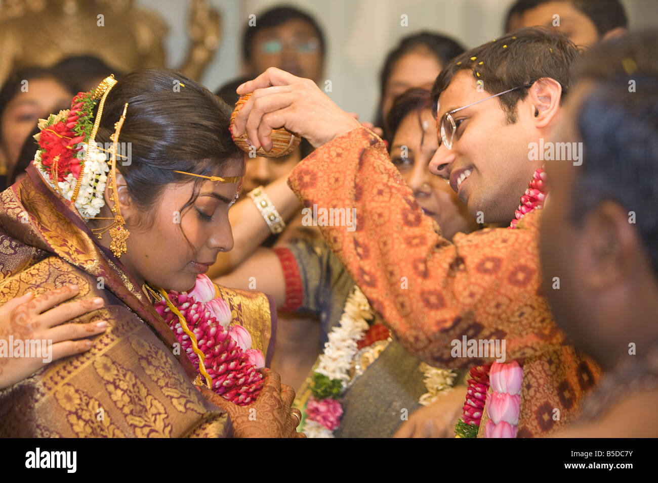 Hindu bride and grrom during an indian wedding Stock Photo