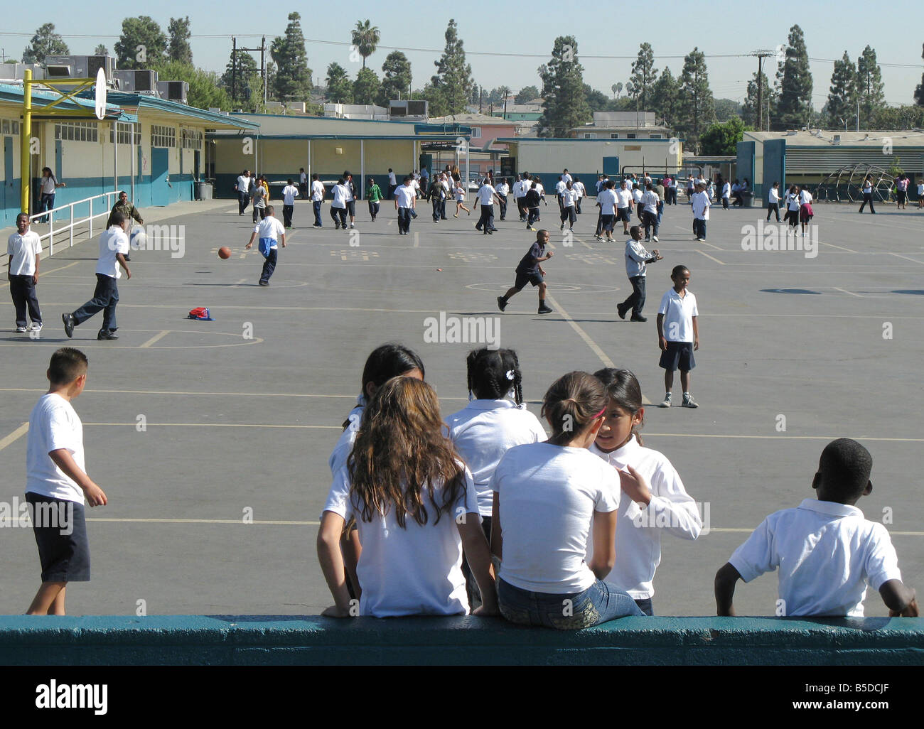 Recess on the School Yard - Stock Image