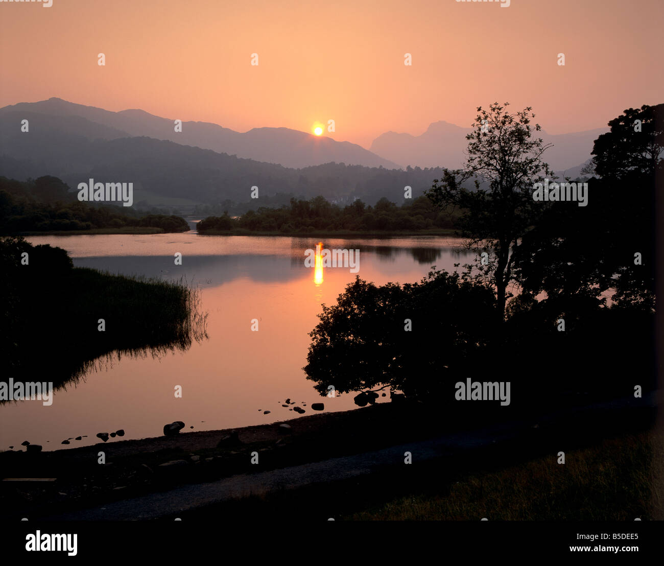 Sunset on Elter Water, near Ambleside, Lake District National Park, Cumbria, England, Europe Stock Photo