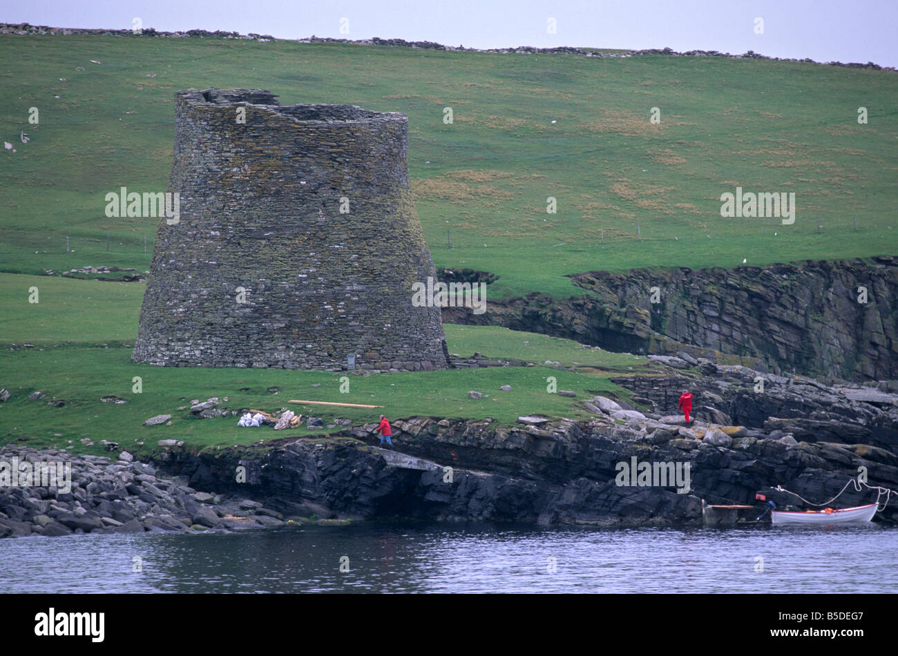 Mousa Broch, best preserved of all brochs, in perfect state, Mousa Island, Shetland Islands, Scotland - Stock Image
