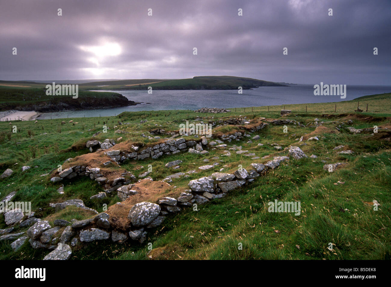 Remains of Viking longhouse at Underhoull, Unst, Shetland Islands, Scotland, Euorpe - Stock Image