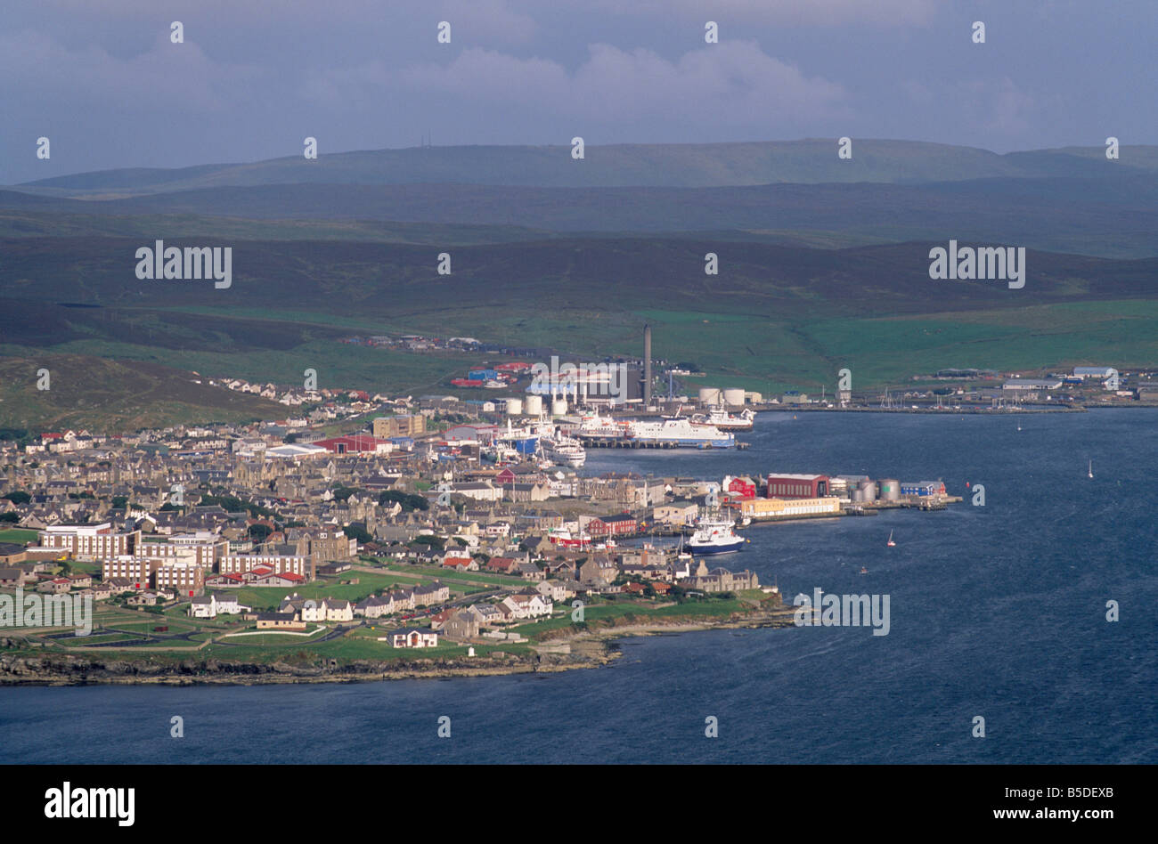lerwick town and bressay sound from bressay island