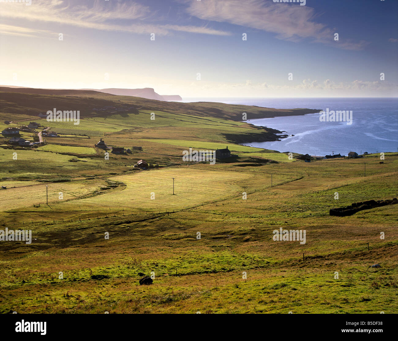 Trebister and Trebister Ness, Bressay and The Ord cliffs and Bard Head, Mainland, Shetland Islands, Scotland - Stock Image