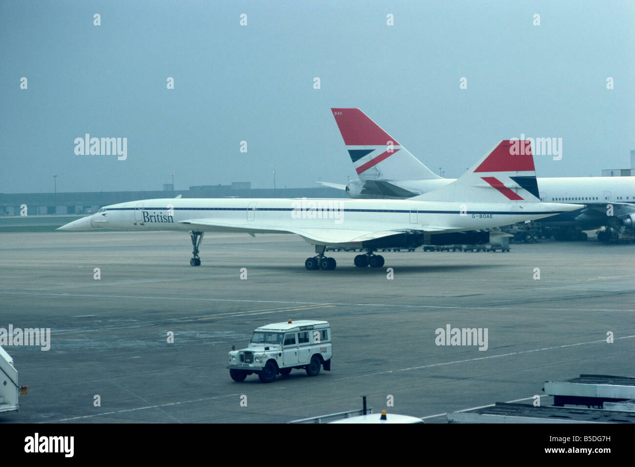 Concorde in the 1970s in British Airways livery Heathrow London England United Kingdom Europe - Stock Image