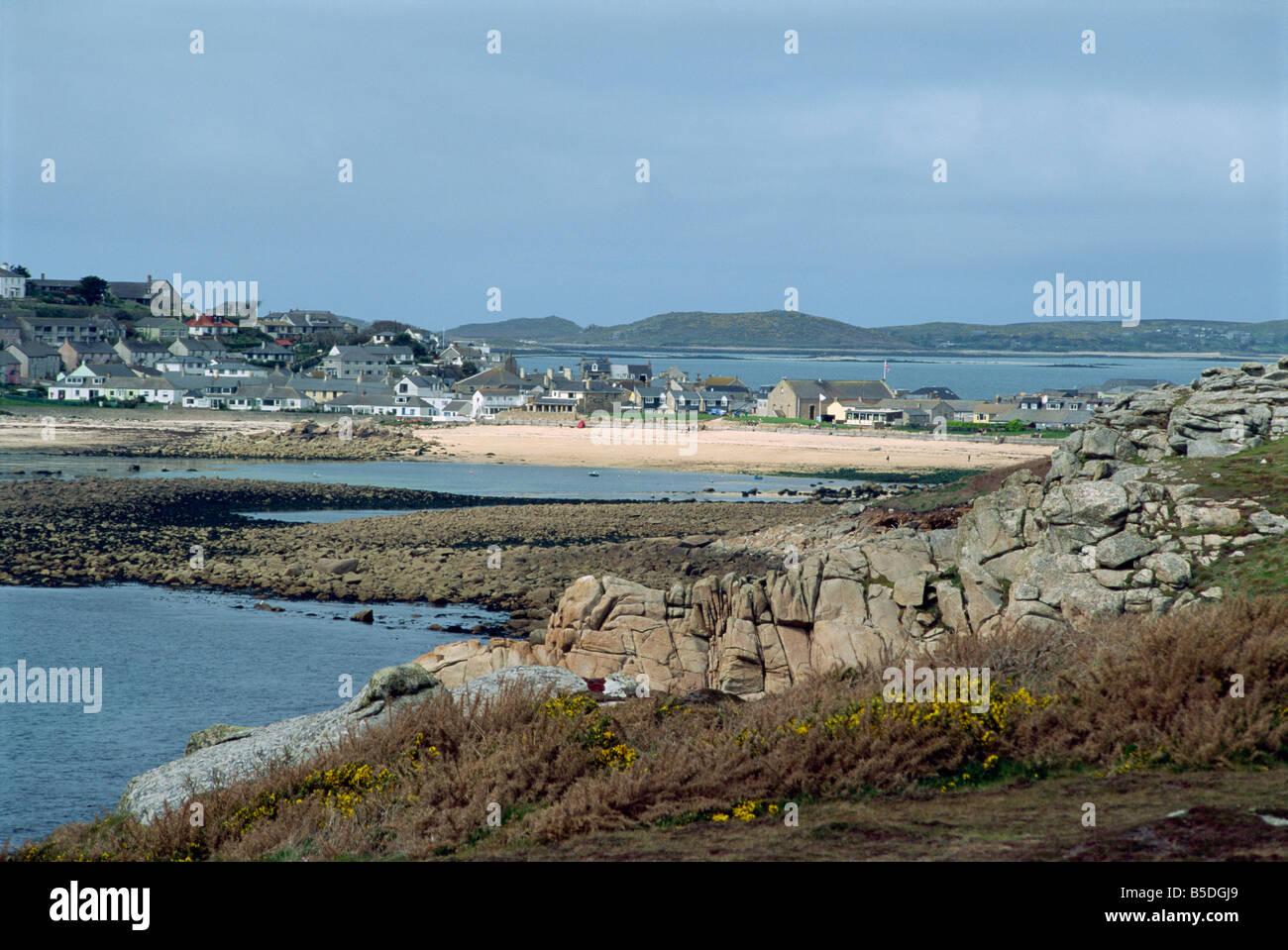 Porthcressa Beach Hugh Town St Mary s Isles of Scilly United Kingdom Europe - Stock Image