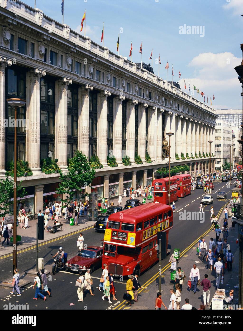Selfridges department store and London bus on Oxford Street London England UK W Rawlings - Stock Image