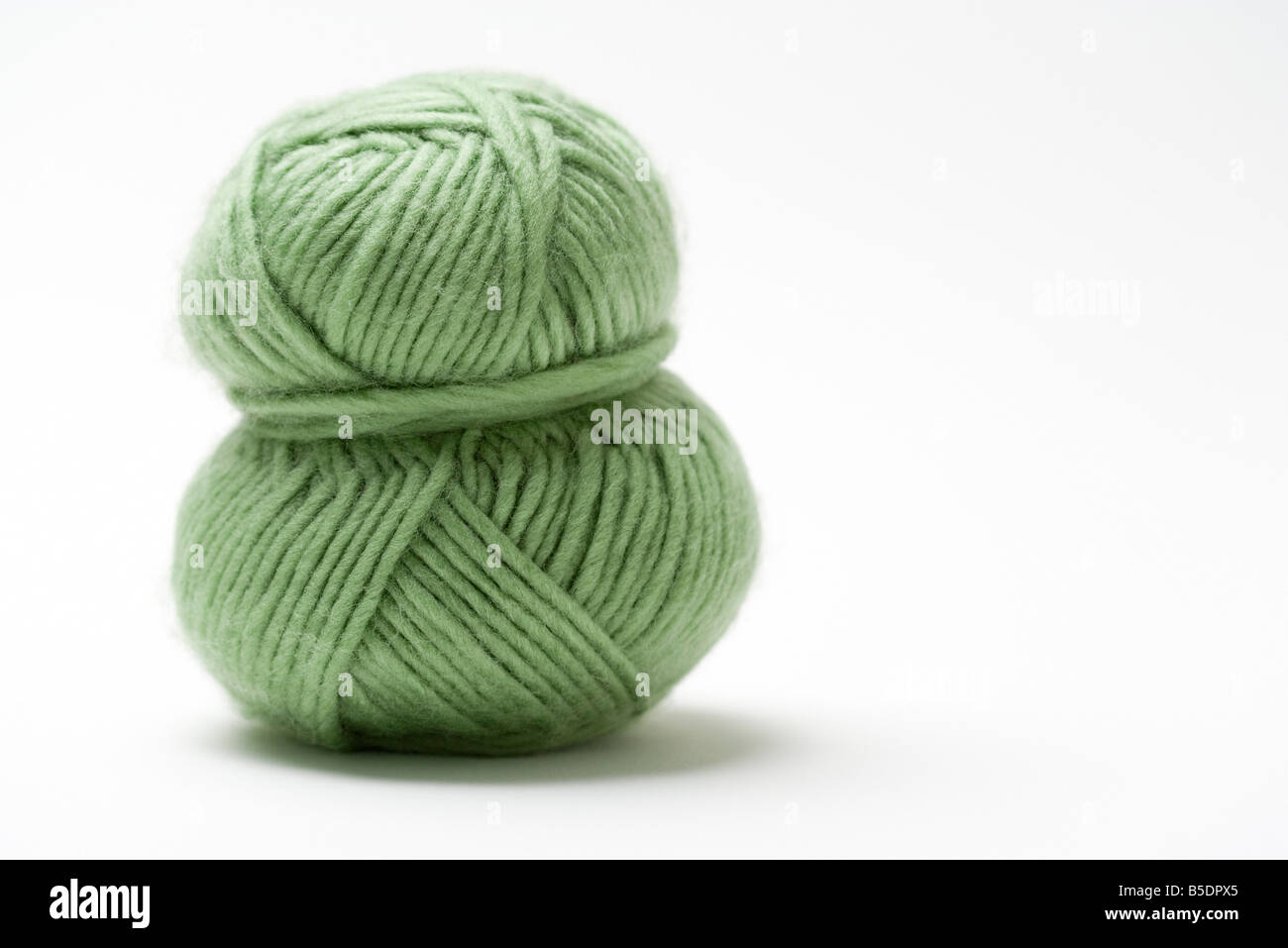Skein of green yarn, close-up - Stock Image