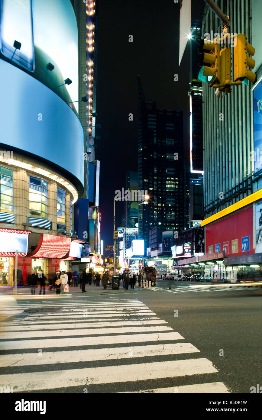 Crosswalk at intersection of W 43rd Street and Broadway at Times Square looking south down Broadway - Stock Image